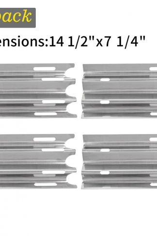 SHINESTAR Gas Grill Replacement Parts for Vermont Castings CF9030, Jenn-Air JA460 and Others, 4-pack 14 1/2 inch Stainless Steel Heat Shield Plate Tent Deflector Burner Cover Flame Tamer(SS-HP001)