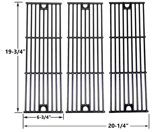 3 Pack Gloss Cast Iron Cooking Grid for King Griller 3008, 5252 and Char-Griller 2121, 2123, 2222, 2828, 3001, 3030, 3725, 4000, 5050, 5252, 3008 Gas Grill Models
