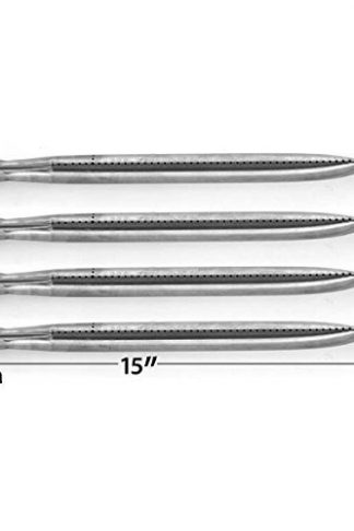4 Pack Replacement Stainless Steel Burner for Charbroil 640-01303702-3, Kenmore 146.16132110, 146.16133110, 146.162201, 146.16222010 & Nexgrill 720-0697, 720-0744, 85-3225-6, Gas Grill Models