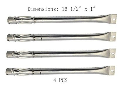 BBQ Mart B2411 (4-pack) Straight Stainless Steel Pipe Burner for Lowes BBQ Grillware, Perfect Flame, Charmglow, North American Outdoors, and Other Model Grills