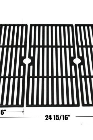 Bar.b.q.s CI66123 Cast Iron Cooking Grid Set Replacement for Select Gas Grill Models by Kenmore, Charbroil, Thermos, Set of 3