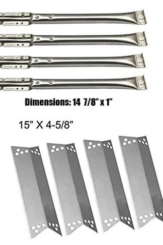 Barbecue Gas Grill Repair KIT SS Burners, SS Heat Shield -4pack Replacement For Kenmore,Nexgrill 720-0719BL, 720-0773,720-0783,Tera Gear1010007A