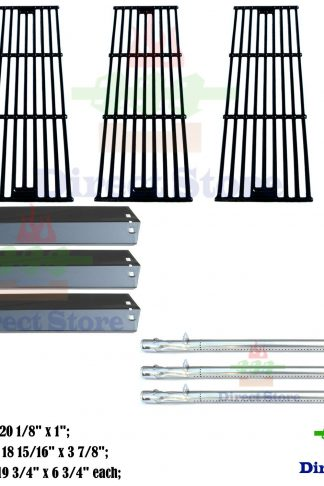 Direct store Parts Kit DG153 Replacement Chargriller 3001,3008,3030,4000,5050,5252; King Griller 3008,5252 Gas Grill (SS Burner + Porcelain Steel Heat Plate + Porcelain Cast Iron Cooking Grid)