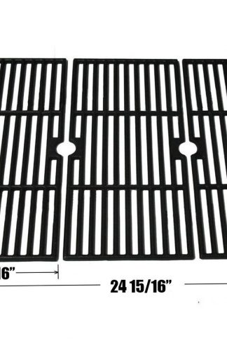 Edgemaster Matte Porcelain Coated Cast Iron Cooking Grid Set Replacement for Select Gas Grill Models by Kenmore, Charbroil, Thermos, Set of 3
