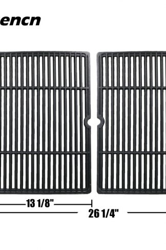 Hisencn JGX652 Replacement Porcelain coated Cast Iron Cooking Grid Set of 2 for Select Gas Grill Models By Char-Broil, Coleman, Kenmore, Thermos, Uniflame, Master and Others