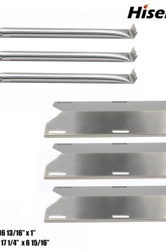 Hisencn Replacement Stainless Steel Burner&Heat Plates For Charmglow Home Depot 3 Burner 720-0230 720-0036-HD-05 Gas Grill Burners & Heat Plates