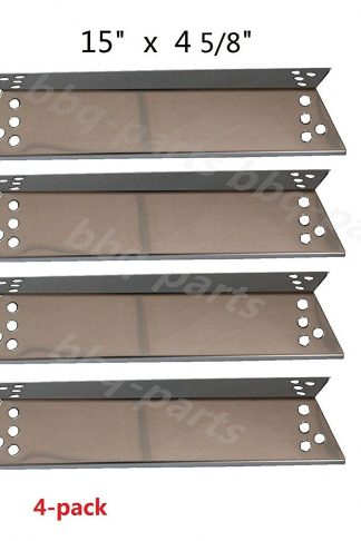 "Hongso SPZ681 (4-pack) Stainless Steel Heat Plates for Charbroil 463411911, 464424312, C-45G4CB, Kenmore Sears, K-Mart, Nexgrill, Tera Gear Model Grills (15"" x 4 5/8)"