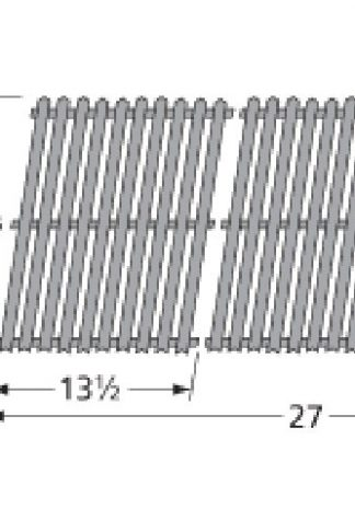 Music City Metals 59812 Porcelain Steel Channels Cooking Grid Replacement for Select Grill Master and Uniflame Gas Grill Models, Set of 2