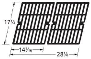 Music City Metals 64252 Matte Cast Iron Cooking Grid Replacement for Select Gas Grill Models by Aussie, Brinkmann and Others, Set of 2