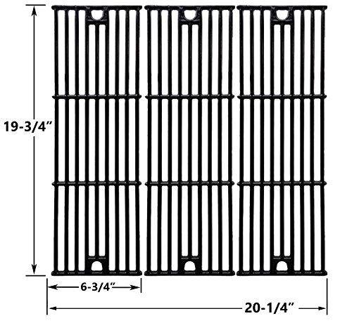 Replacement Gloss Cast Iron Cooking Grates For Char-Griller 2121, 2123 and King Griller 3008, 5252 Gas Grill Models, Set of 3