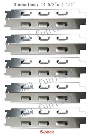 SH8531 (5-pack) Stainless Steel Heat Plate Replacement for Select Gas Grill Models By Charbroil, Kenmore and Others
