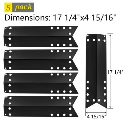 SHINESTAR Gas Grill Heat Tent Shield Plate for Kenmore, Nexgrill, and Others, 5-Pack 17 1/4 inch Porcelain Steel Flame Tamer BBQ Burner Cover Heat Deflector Diffuser, Grill Replacement Parts(SS-HP033)