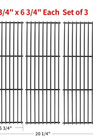 "SHINESTAR Replacement Grill Parts for Chargriller Grill Model 3001, 3008, 3030, 3725, 4000, 5050, 5252, King Griller, Porcelain Coated Cast Iron Cooking Grate /Grid (Set of 3, 19 3/4'' X 6 3/4"" Each)"
