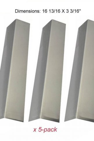 "Set Of 5 Stainless Steel Heat Plates for Brinkmann 810-1750-S, 810-3820-S, 810-3821-S and Other Grill Models (Dims: 16 13/16 X 3 3/16"")"