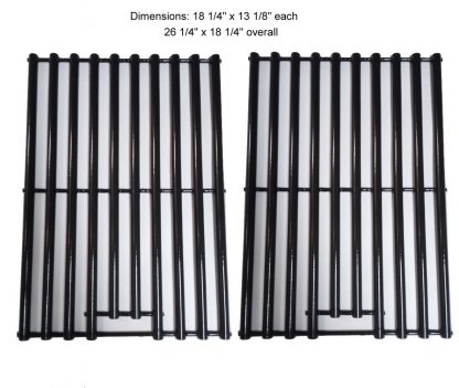 Set of 2 Porcelain steel Cooking Grid Replacement for Select Gas Grill Models by Charbroil, Coleman, CG-65P-CI