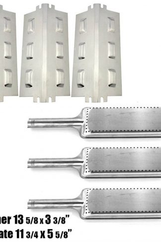 Set of Three Burners and Three Heat Plates for Char-Broil, Kenmore and Thermos Grill Models