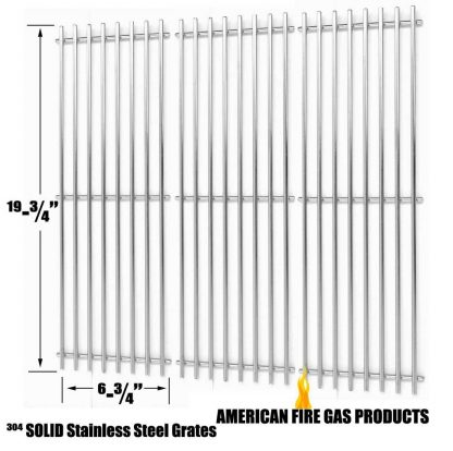 Stainless Cooking Grid for King Griller 3008, 5252 and Char-Griller 2121, 2123, 2222, 2828, 3001, 3030, 3725, 4000, 5050, 5252, 3008 Gas Grill Models, Set of 3