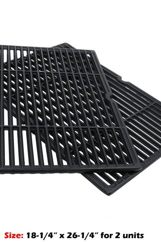 Uniflasy 2-Pack Heavy Duty Matte Porcelain Coated Cast Iron Cooking Grid Grates Replacement Part for Charbroil, Coleman, Kenmore, Thermos, Uniflame, Master Forge, Bbq Grillware Grills