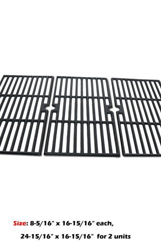 Uniflasy 3-Pack Repair Part Heavy Duty Matte Porcelain Coated Solid Cast Iron Cooking Grid Grates Set Replacement Part for Select Gas Grill Models by Charbroil, Kenmore, Kirkland & Thermos etc.