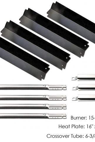 Uniflasy Gas Grill Repair Replacement Parts Kit (Burners, Heat Plates & Crossover Tubes) for Select Charbroil Grill Models