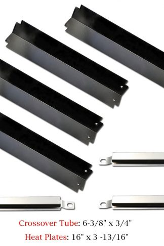 Uniflasy Porcelain Steel Grill Heat Plate Heat Shield Plate Tent Flavorizer Bars Burner Cover Flame Tamer Replacement Parts & Crossover Channels Tubes for Charbroil, Kenmore, Thermos Gas Grills Models