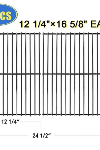 "XHome Grill Grate 16 5/8"" Grill Replacement Parts 16 inch Cooking Grid for Charbroil 463240804, Centro 2000, Kenmore, Master Chef, Thermos, Kirkland, Porcelain Steel (2 Pack , 16 5/8"" x 12 1/4"")"
