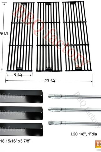 bbq factory Replacement Rebuild Kit fits Chargriller 3001, 3008, 3030, 4000, 5050, 5252 Gas Grill Stainless Steel Burner,Porcelain Steel Heat Plate,Porcelain Coated Cast Iron Cooking Grid