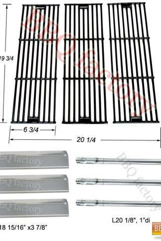 bbq factory Replacement Rebuild Kit fits Chargriller 3001, 3008, 3030, 4000, 5050, 5252 Gas Grill Stainless Steel Burner,Stainless Steel Heat Plate,Porcelain Coated Cast Iron Cooking Grid
