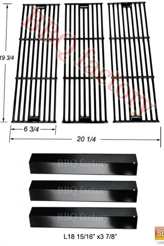 bbq factory Replacement Rebuild Kit fits Chargriller 3001,3008,3030,4000,5050,5252 Gas Grill Porcelain Steel Heat Plate, Porcelain coated Cast Iro Cooking Grid