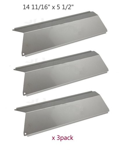 BBQ Mart SP5691 (3-pack) Stainless Steel Heat Plates, Heat Shield, Heat Tent, Burner Cover, and Flavorizer Bar Replacement for Select Fiesta Gas Grill Models