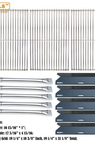 Bar.b.q.s Perfect Flame 5 Burner 720-0522 Replacement Gas Grill 5 PACK Stainless Steel Burners, 5 PACK Porcelain Steel Heat Plate, Set of 3 Stainless Steel Cooking Grids