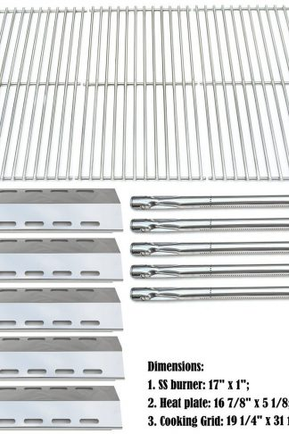 Bar.b.q.s Replacement Ducane 30400042,30400043,30558501 Gas Grill Burners,Heat Plates,Cooking Grid (SS Burner + SS Heat Plate + Solid Stainless Steel Cooking Grid)