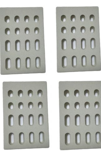 Broilmann 4-pack Universal Replacement Heat Plate Flame Tamer for Grand Turbo Grills, Ceramic Brick Flame Tamer(Dimensions: 7 1/16 L X 4 3/4 W X 1/2 H)