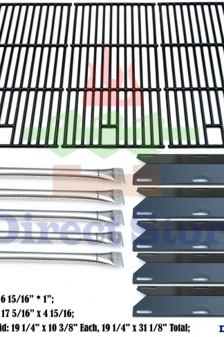 Direct store Parts Kit DG180 Replacement Perfect Flame 5 Burner 720-0522; Charmglow 5 Burner 720-0396,720-0578 Gas Grill(SS Burner + Porcelain Steel Heat Plate + Porcelain Cast Iron Cooking Grid)