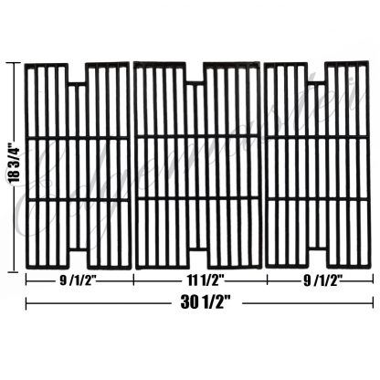 Edgemaster Cast Iron Cooking Grid Set Replacement for Select Gas Grill Models by BBQ Tek, Master Forge and Others