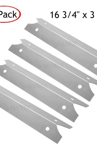 HANEE KS702 Gas Grill Replacement Parts Stainless Steel Heat Plate Heat Shield Heat Tent, Burner Cover Flame Tamer, Heat Diffuser Deflector for Brinkmann, Charmglow, 16 3/4 inch x 3 7/8 inch, Set of 4
