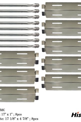 Hisencn 8Pack Repair Kit Stainless Steel Grill Burners,Heat Plates, Heat Shield Replacement For Select Bakers And Chefs, Grill Chef, Members Mark Gas Grill Models