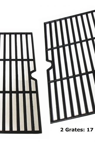 Hongso PCF162 Cast Iron Cooking Grid Grate Replacement for Grill Master 720-0737, Grill Chef, Nexgrill Gas Grill, Set of 2 (17 1/8 x 24 7/8 inches)