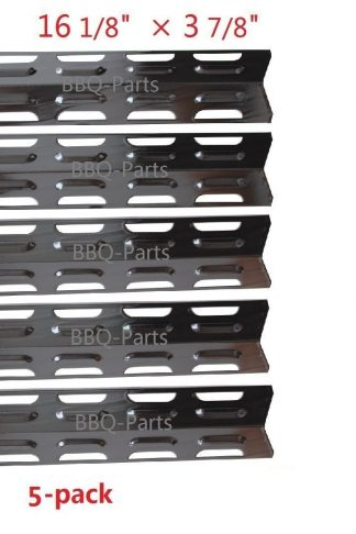 Hongso PPB071 (5-pack) Replacement Porcelain Steel Heat Plate, Heat Shield, Heat Tent, Burner Cover, Vaporizor Bar, and Flavorizer Bar for Kenmore, Master Forge and Others (16 1/8 x 3 7/8)