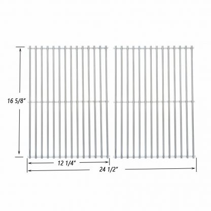 Onlyfire BBQ Stainless Steel Cladding Rod Grates / Cooking Grid Replacement Fit for Charbroil, Front Avenue, Fiesta, Kenmore, Kirkland, Kmart, Master Chef, and Thermos Gas Grill and Others, Set of 2