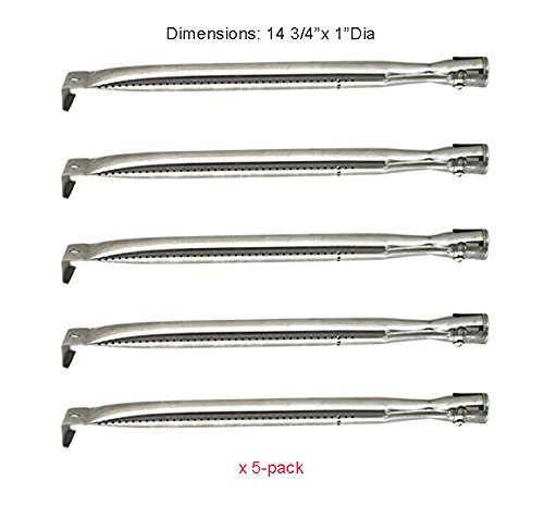 SB0241 Universal Gas BBQ Grill Stainless Steel Burner Replacement for select Gas Grill Models by Kirkland, Grand Hall, Members Mark, Patio Range and Other grills (5-pack)