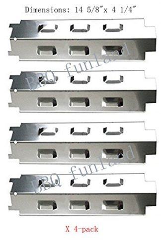 "SH8531(4-pack) Stainless Steel Heat Plate Replacement for Select Gas Grill Models By Charbroil, Kenmore and Others(14 5/8"" x 4 1/4"")"
