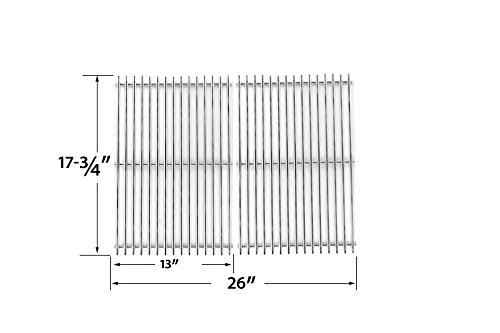 STAINLESS STEEL COOKING GRID REPLACEMENT FOR BBQTEK GSF2818K, GSF2818KL AND PERFECT FLAME SLG2007B, SLG2007BN, 63033, 64876 GAS GRILL MODELS, SET OF 2