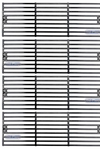Uniflasy Grill Grid Grate Porcelain Coated Cast Iron Cooking Grates Replacement Parts for Char-Griller 2121, 2123, 2222, 2828, 3001, 3030, 3725, 4000, 5050, 5252 Grills (Set of 4)