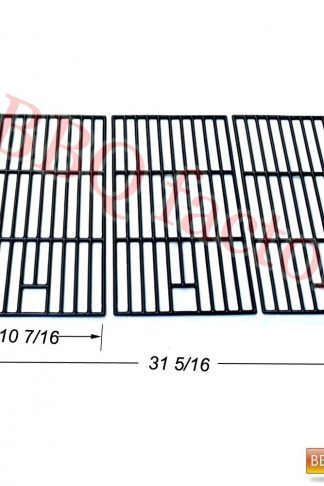 bbq factory Replacement Porcelain coated Cast Iron Cooking Grid Grate JGX273 for Select Master Forge and Perfect Flame Gas Grill Models, Set of 3