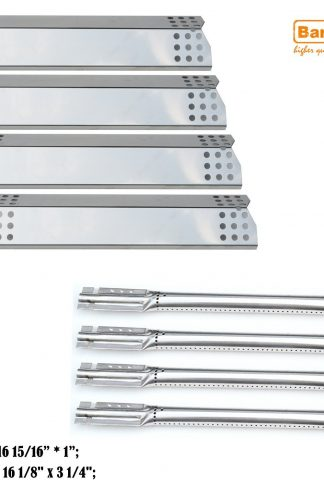 Bar.b.q.s 4-pack Replacement Kitchen Aid 720-0733A,4 Burner Gas Grill Burner,Heat Plate (Stainless Steel Burner + Stainless Steel Heat Plate)
