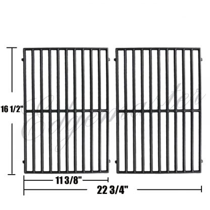 Edgemaster Matte Cast Iron Vermont Castings Grill Grates Cooking Grid 50003933 50001314 Replacement for Select Gas Grill Models by Vermont Castings, ProChef, Ellipse and Kenmore Grills, Set of 2