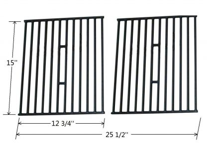 Edgemaster Pack of 2 Matt Cast Iron Cooking Grid Replacement for Select Gas Grill Models by Broil King, Broil-Mate and Others