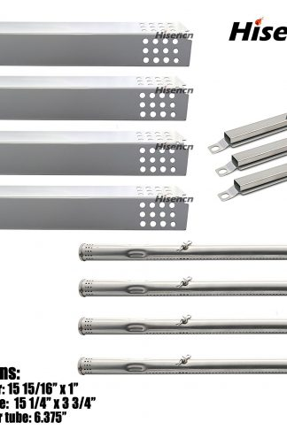 Hisencn BBQ Repair Kit Stainless Steel Pipe Burner, Heat Plate, Carry over Tube Replacement For Charbroil 463241113, 463449914 Gas Grill Model