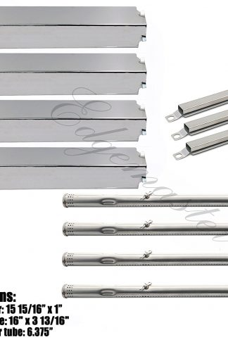 Hisencn BBQ Repair Kit Stainless Steel Pipe Burner , Heat Plate , Carry over Tube Replacement For Charbroil 463247310, 463257010 Gas Grill Model